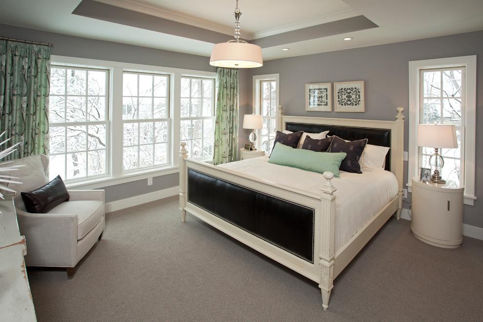 Coastal bedroom photo in Minneapolis with gray walls