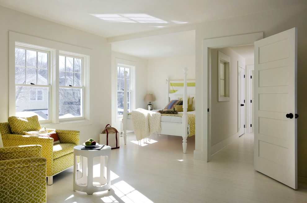 Beach style white floor bedroom photo in Boston with white walls