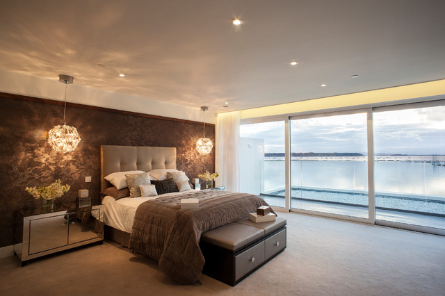 Inspiration for a contemporary bedroom remodel in Dorset