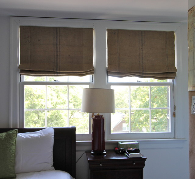 Coffee Sack Roman Shades Eclectic Bedroom Nashville