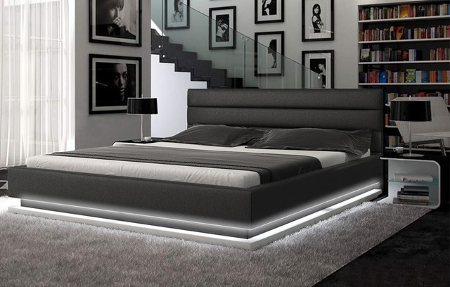 Colby Leather Platform Bed Modern Bedroom
