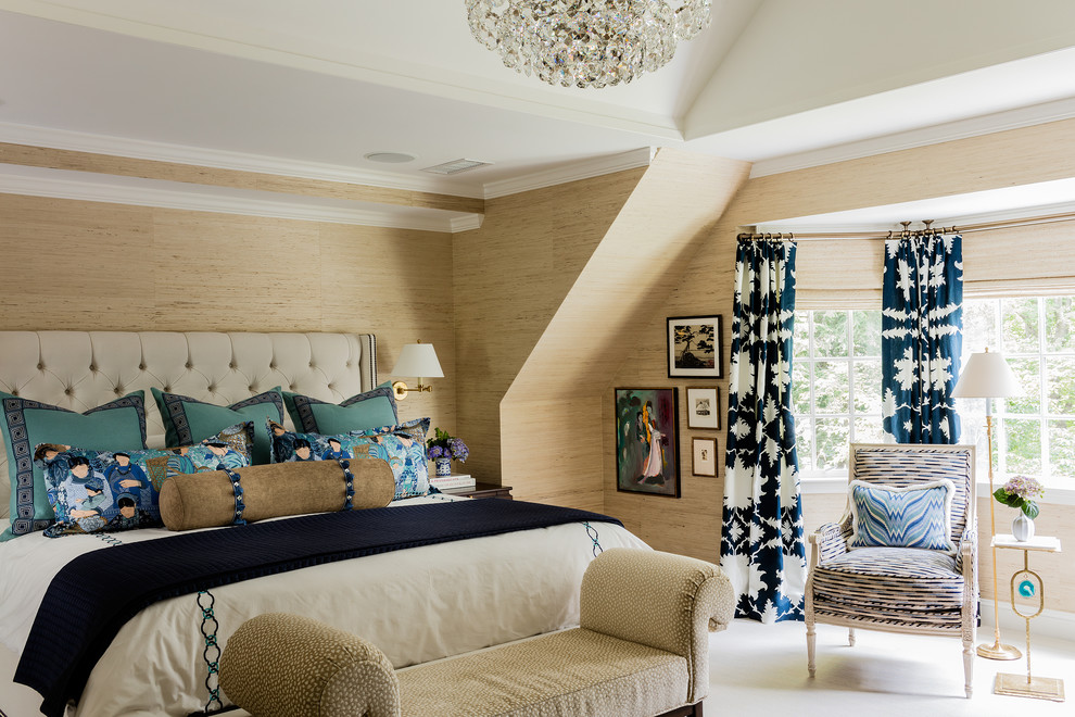 Example of a transitional master carpeted bedroom design in Boston with beige walls