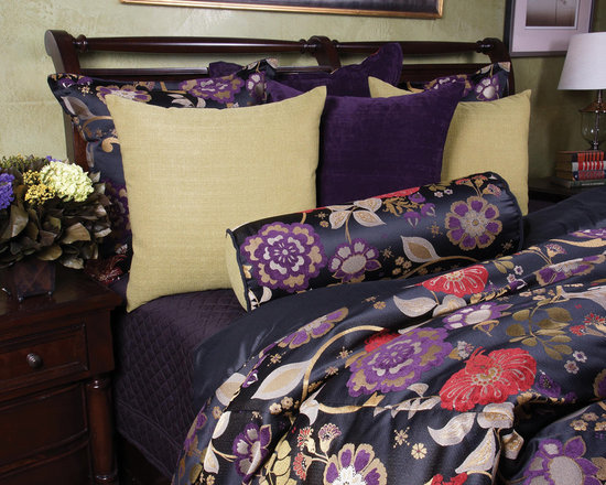 Bedding 2013 - Colors Rich vivid colors in chenille set on back. Plum, Merlot, Apple Green and Black pop as this set comes to life. All pillow are revisable to give you endless options.