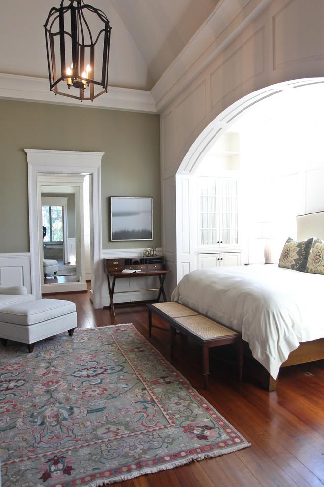 Bedroom - traditional medium tone wood floor bedroom idea in Charleston with gray walls