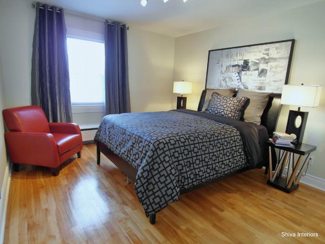Condo Montreal rd. contemporary-bedroom