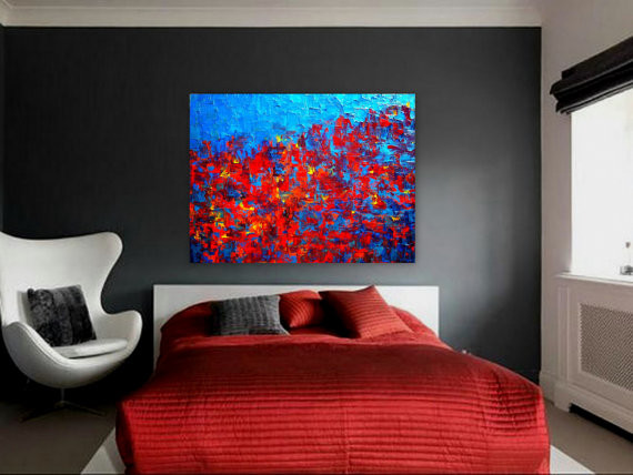 "Painting For Bedroom contemporary abstract painting for modern spaces ""autumn at night"