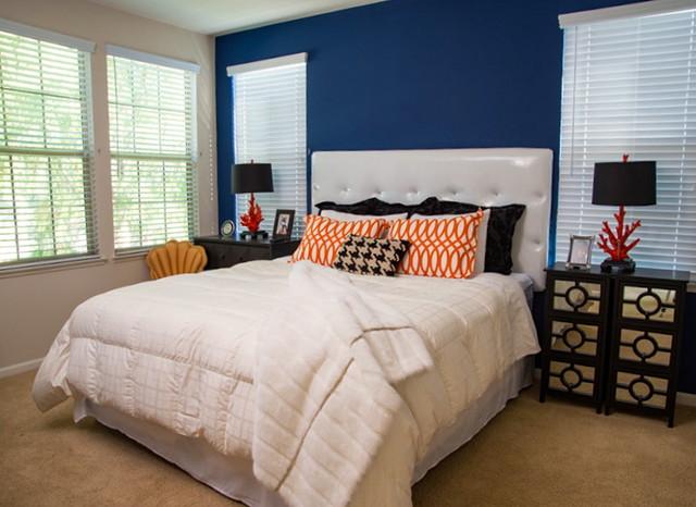 Contemporary Apartment Contemporary Bedroom Orange