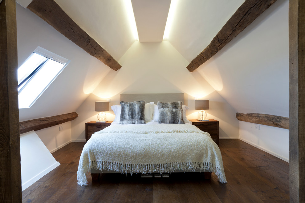 Example of a trendy dark wood floor bedroom design in London with white walls and no fireplace