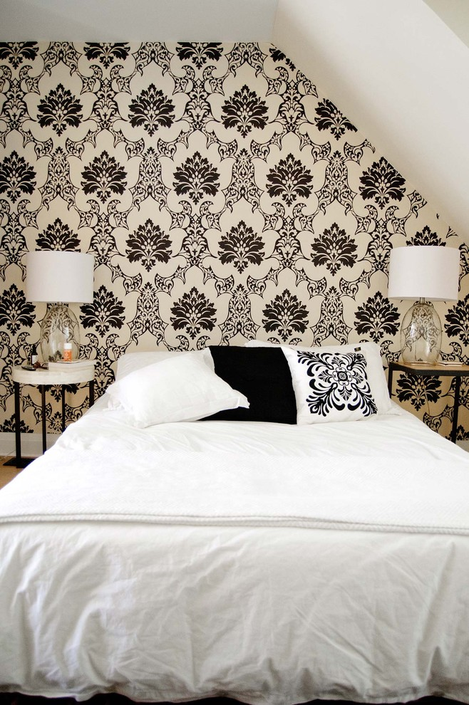 Trendy bedroom photo in Toronto with white walls