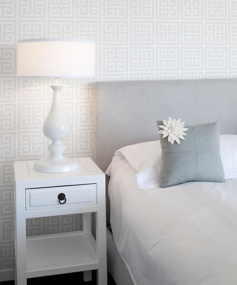 Bedroom - contemporary bedroom idea in San Francisco with multicolored walls