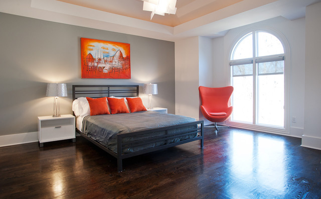 Orange and Gray Modern Bedroom contemporary-bedroom