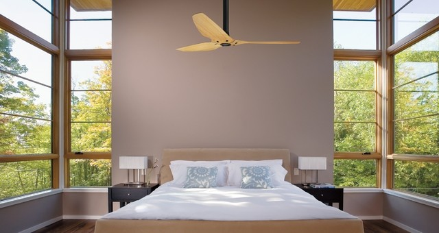 Haiku Caramel Bamboo Ceiling Fan in the Bedroom contemporary bedroom