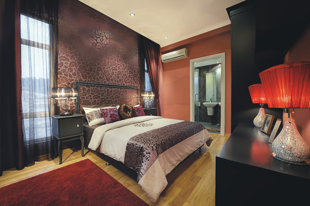Inspiration for a contemporary medium tone wood floor bedroom remodel in Other with purple walls