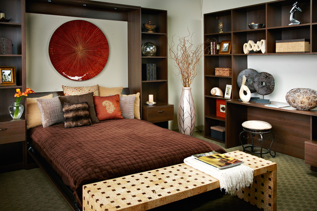 Bedroom - contemporary guest carpeted bedroom idea in New York with white walls and no fireplace