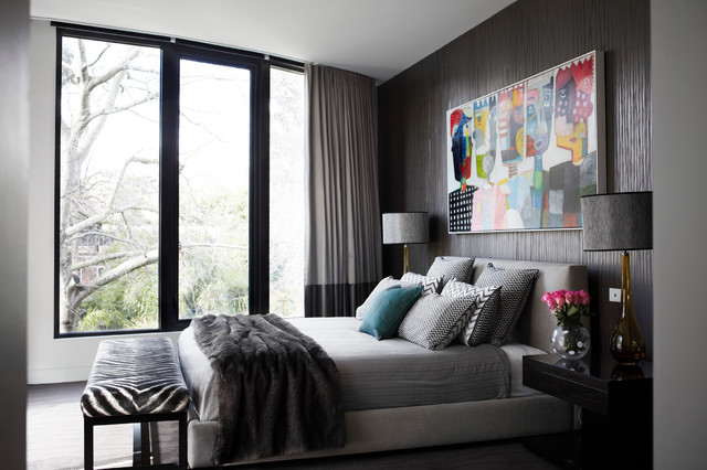 Inspiration for a contemporary carpeted bedroom remodel in Melbourne with gray walls