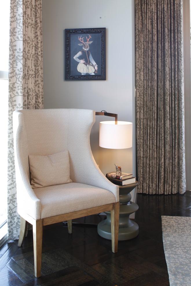 Bedroom - contemporary master dark wood floor bedroom idea in Austin with white walls