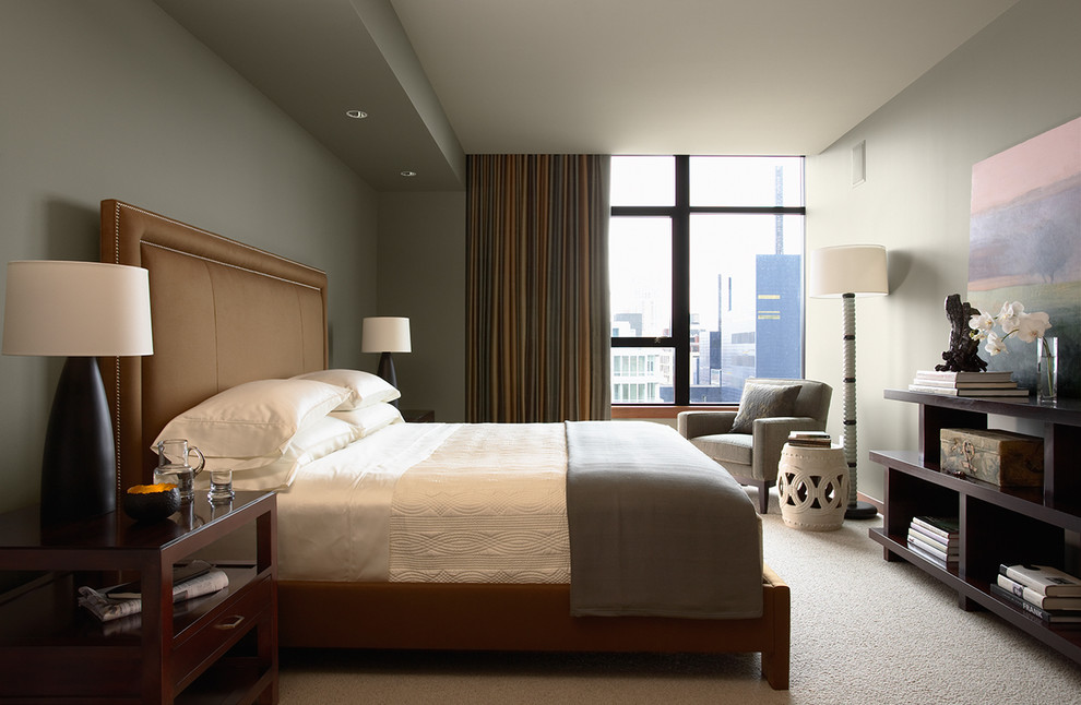 Example of a trendy carpeted bedroom design in Minneapolis with gray walls