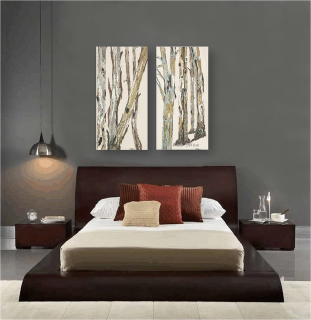 Contemporary bedroom design dark gray walls artwork zen ...