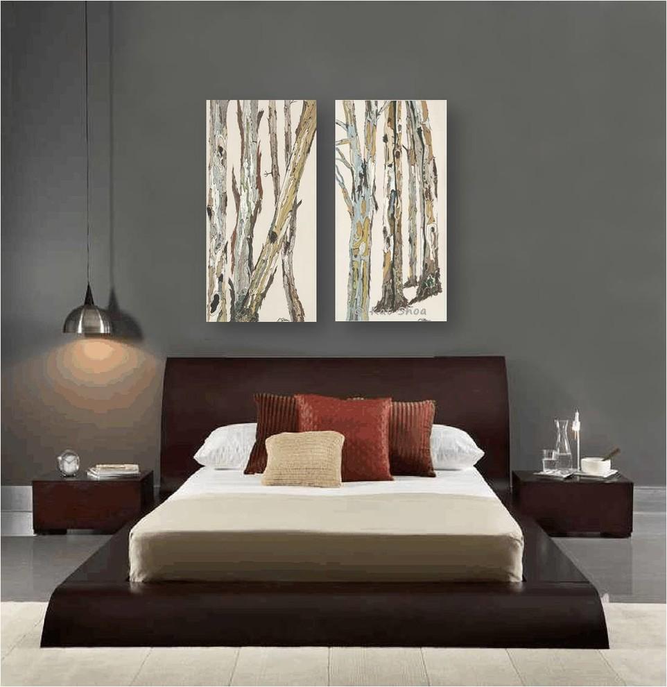 Contemporary Bedroom Design Dark Gray Walls Artwork Zen Style Furniture Brown Contemporary Bedroom Los Angeles By Shoa Gallery