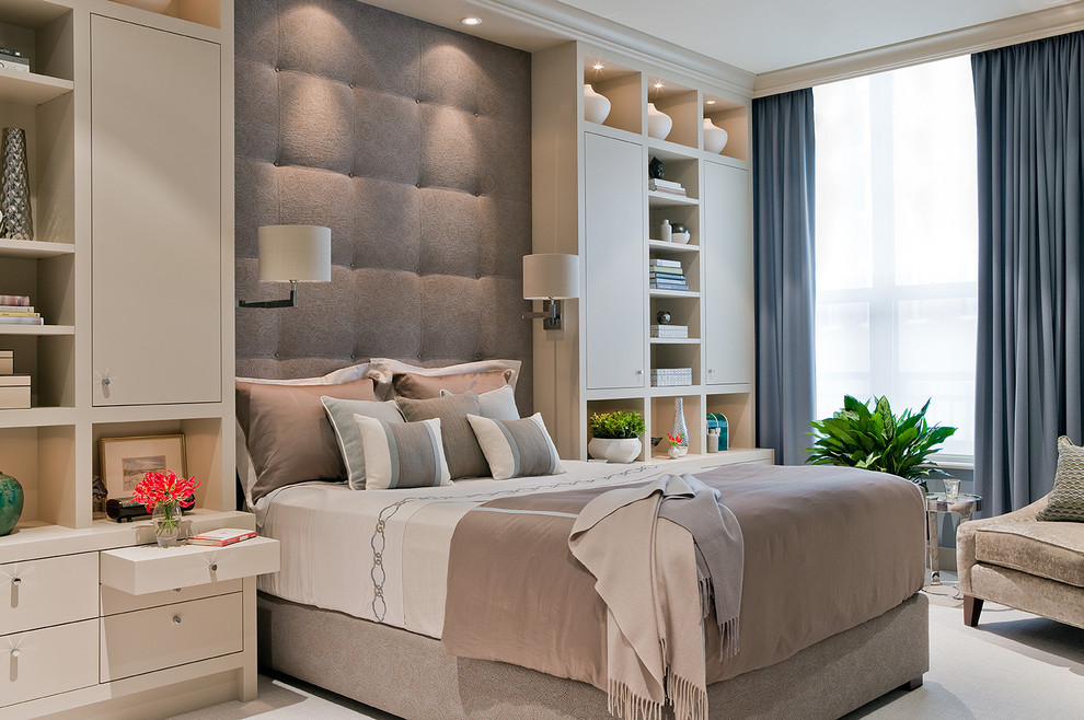 Inspiration for a contemporary master carpeted bedroom remodel in Boston with beige walls