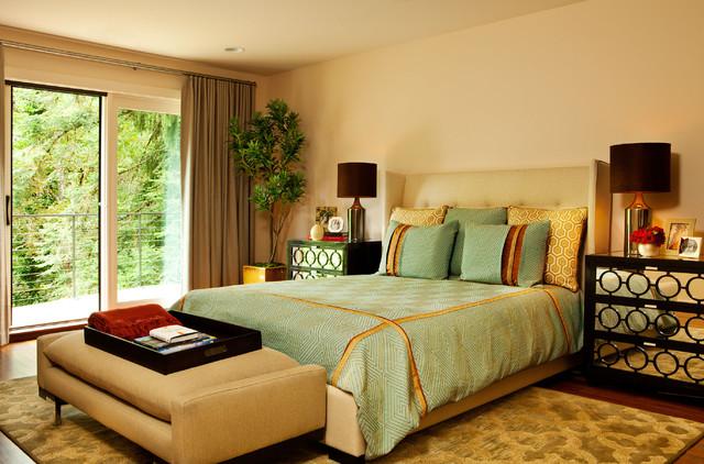 Refined Hand-Hewn contemporary-bedroom