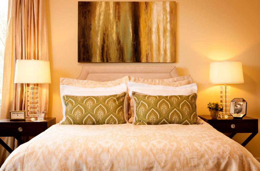 Bedroom - contemporary bedroom idea in Portland with yellow walls