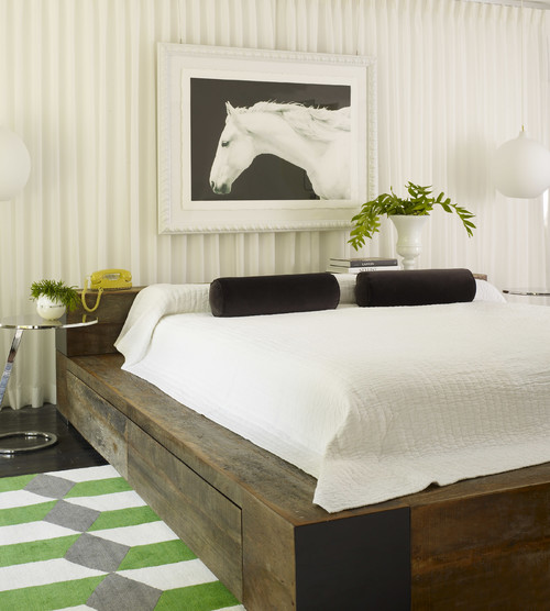 reclaimed wood bed headboard and base with shelves save rustic luxe bedroom
