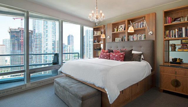Large trendy master carpeted bedroom photo in Chicago with beige walls and no fireplace