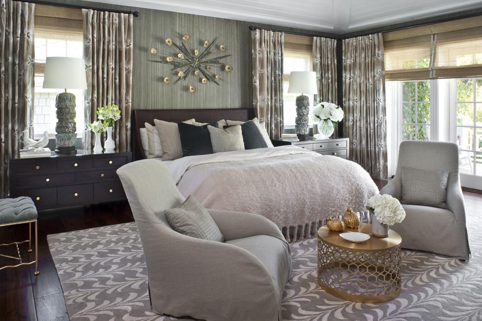 Trendy dark wood floor bedroom photo in Los Angeles with brown walls