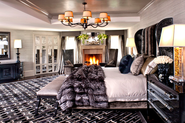 Trendy Bedroom Photo In Los Angeles With Gray Walls And A Standard Fireplace