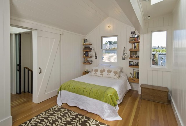 Bedroom with Sliding Barn Door - Contemporary - Bedroom - San ...