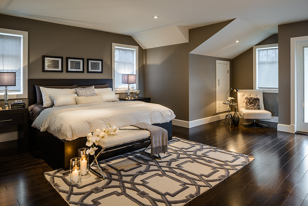 Trendy master dark wood floor bedroom photo in Vancouver with gray walls and no fireplace