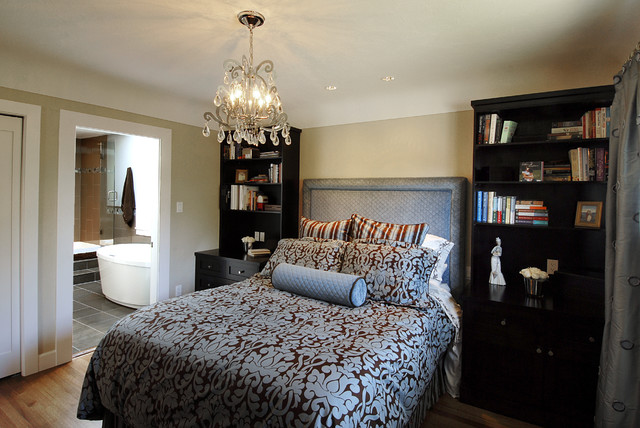 Bedroom   Contemporary Master Medium Tone Wood Floor Bedroom Idea In  Vancouver With Beige Walls