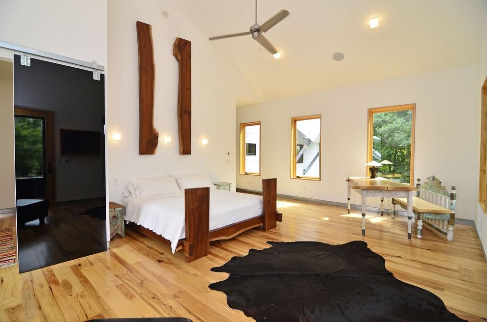 Bedroom - contemporary light wood floor bedroom idea in Minneapolis with white walls