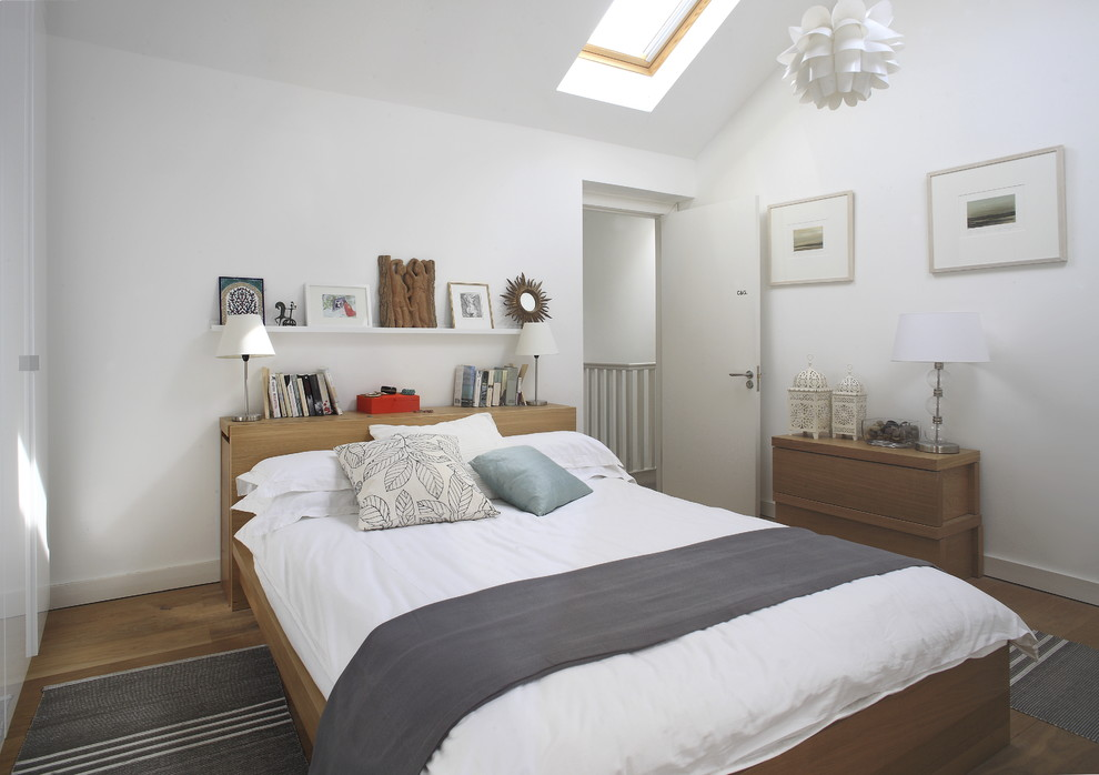 Inspiration for a contemporary bedroom remodel in Dublin with white walls