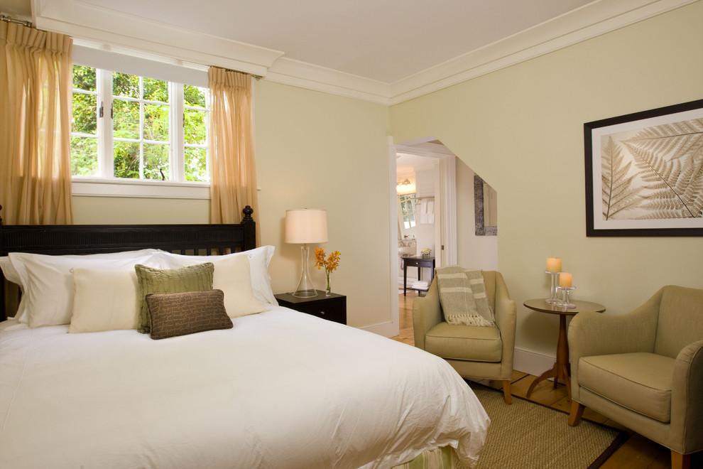 Trendy bedroom photo in Boston with beige walls