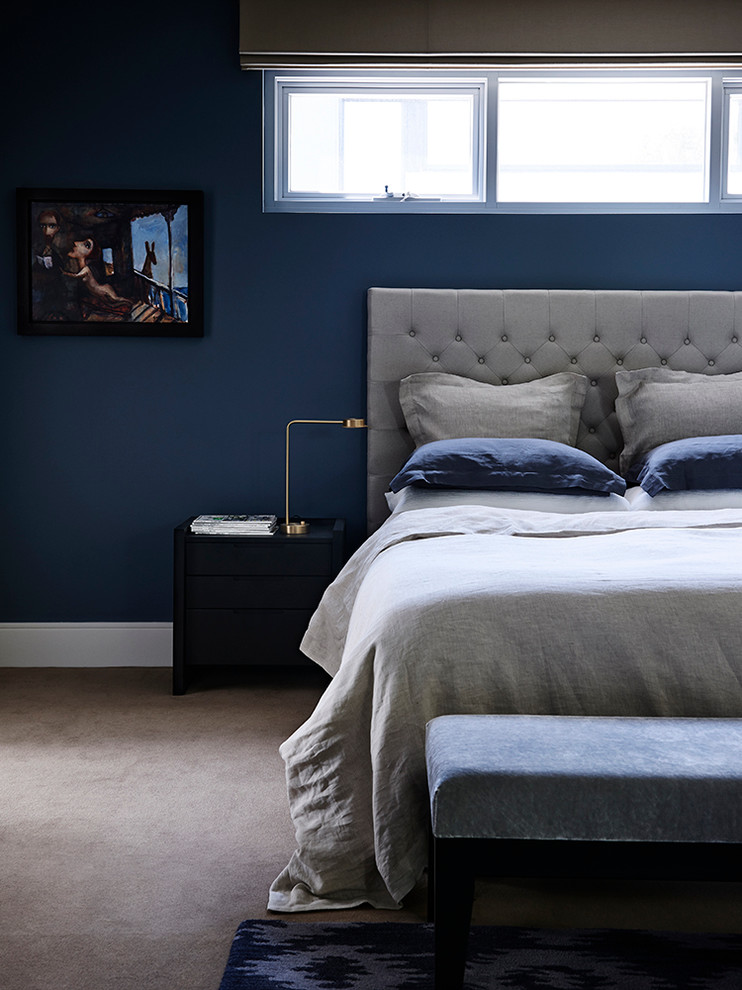 Bedroom - contemporary carpeted bedroom idea in Melbourne with blue walls