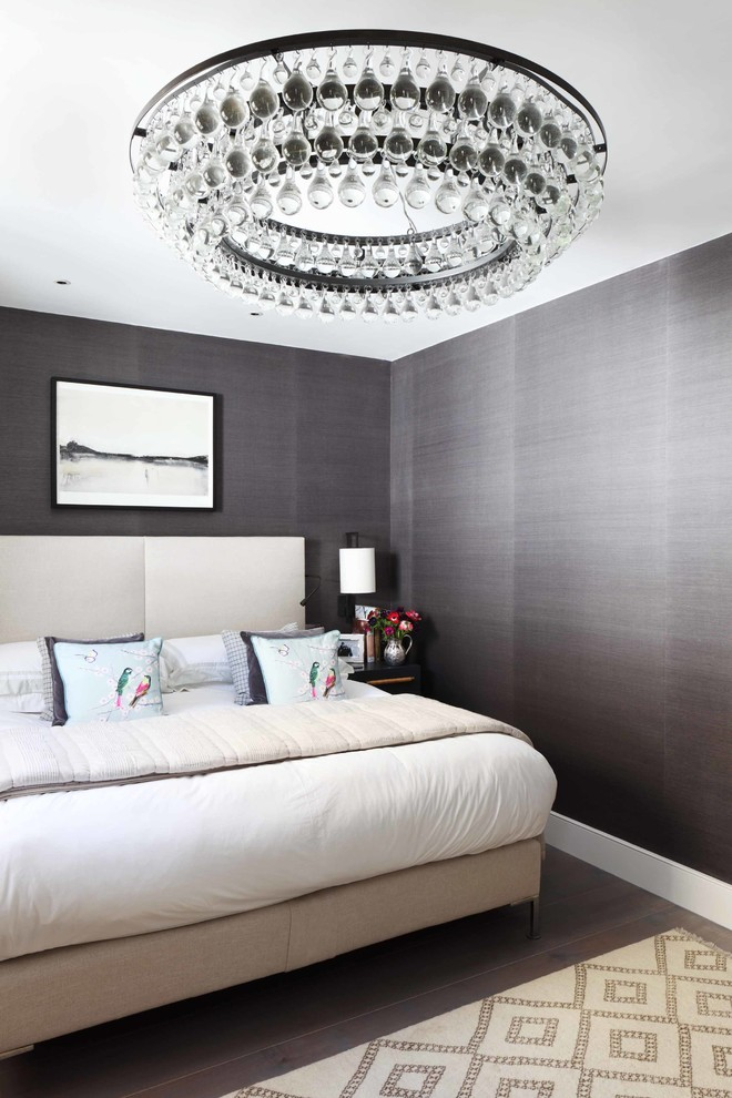 Inspiration for a contemporary master bedroom remodel in London with gray walls and no fireplace