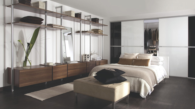 Modern Bedrooms Dark Wardrobes : Contemporary Black & White Gloss Sliding Wardrobe Doors with Storage ...