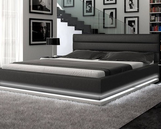 Contemporary Black Leather Platform Bed with Lights - Features: