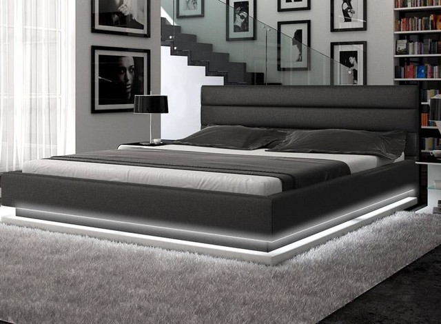 Contemporary Black Leather Platform Bed With Lights