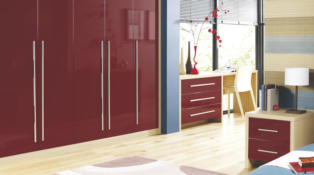 Contemporary Burgundy Gloss Modular Bedroom Furniture
