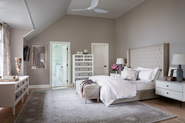 Inspiration for a huge transitional master light wood floor and brown floor bedroom remodel in New York with gray walls