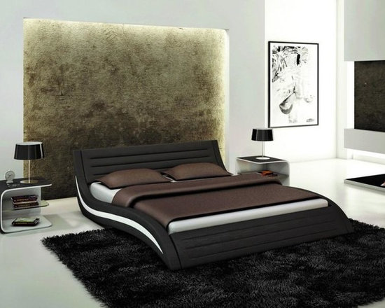 Contemporary Eco-Leather Bed in Black - Features: