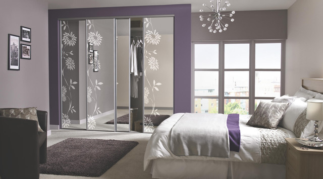 Contemporary Floral Sliding Wardrobe Doors Contemporary