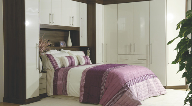 Contemporary gloss white walnut modular bedroom furniture system contemporary bedroom Mobile home bedroom furniture