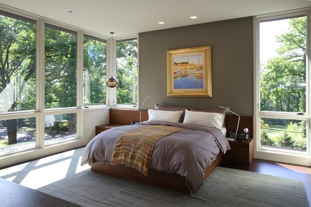 Trendy bedroom photo in New York