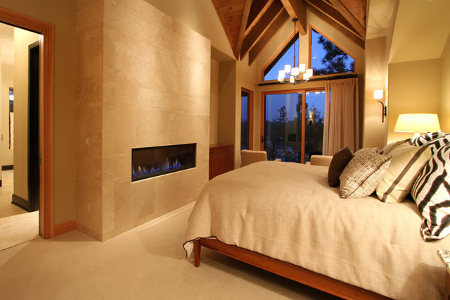 Contemporary Master Suite And Fireplace