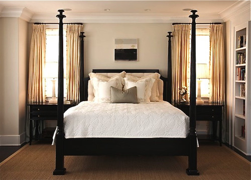 I have a dark wood four poster bed and i love this bed for 4 poster bedroom ideas