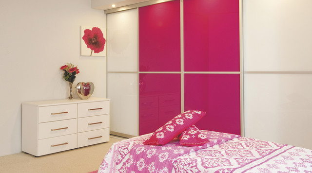 Contemporary pink white gloss sliding wardrobe doors for B q bedrooms fitted
